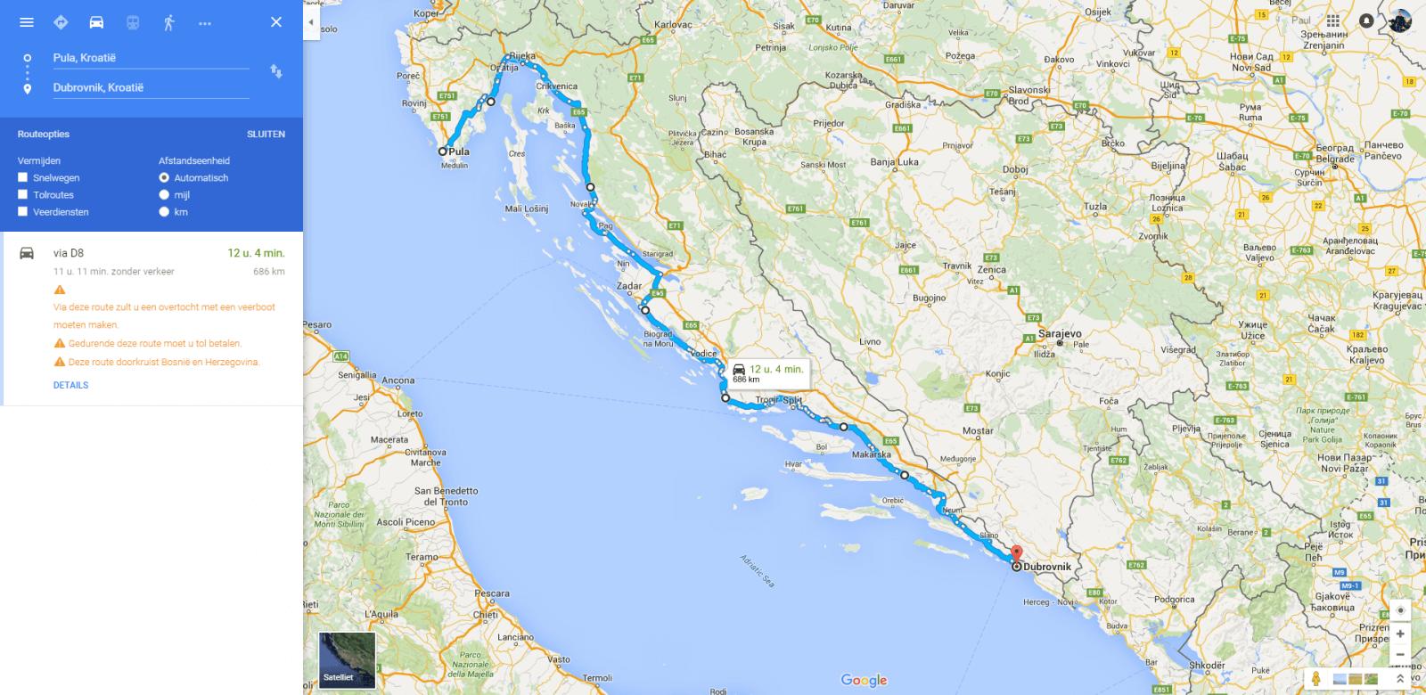 motorvakantie kustroute kroatie