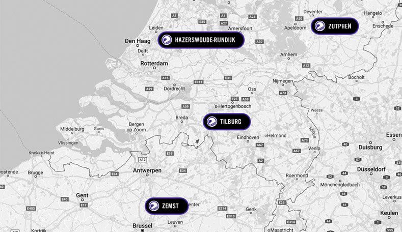 Kaart van MotorKledingCenter superstores in Nederland en België